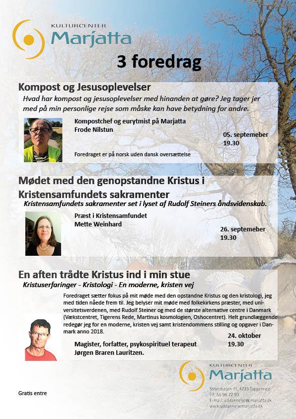 3 Foredrag @ Kulturcenter Marjatta